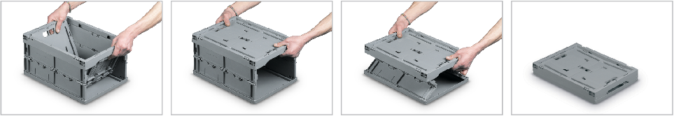 Nettuno foldable collapsible plastic box opening and closing system.