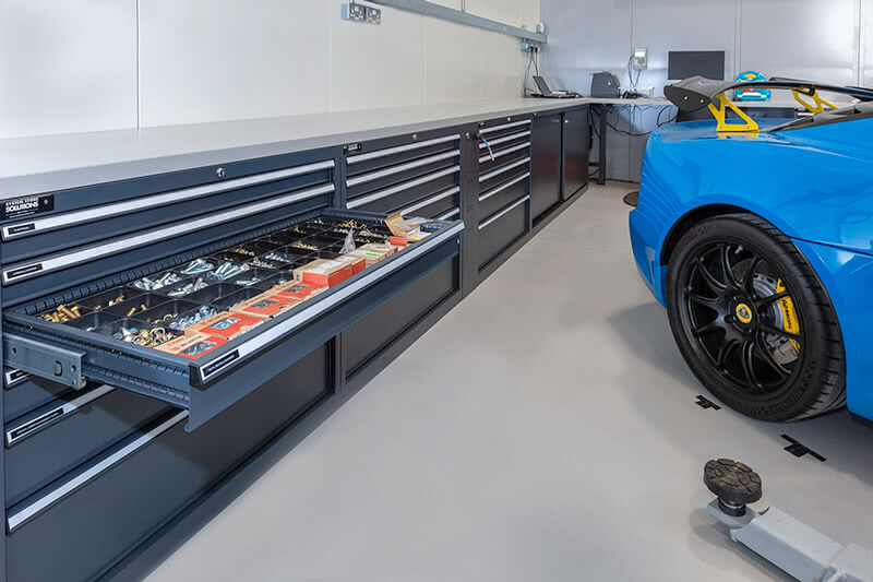 Cabinets and workbenches for Lotus Silverstone's workshop